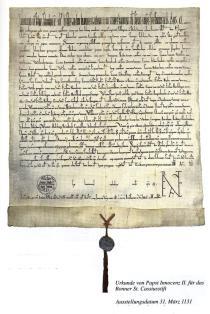 Papst Innozenz II. bestätigte in einer Urkunde, ausgestellt am 31. März 1131, dem St. Cassiusstift zu Bonn seine umfangreichen Besitzungen, darunter die Kirche und den Zehnten zu Friesenhagen.
